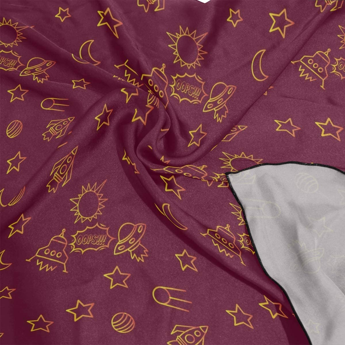 Soft Polyester Silk Head Silk Scarf Fashion Print Star Spaceship Unidentified Flying Object Light Scarves Head Scarf For Women Hair Scarf Head Multiple Ways Of Wearing Daily Decor