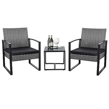 Amazon.com: Flamaker Juego de 3 piezas de muebles de mimbre ...