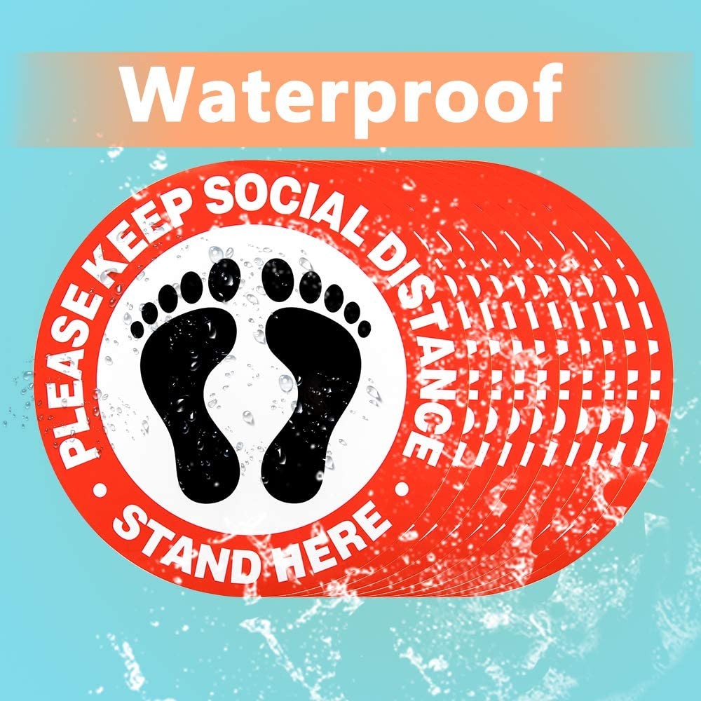 Waterproof Adhesive Anti-Slip Oil-Proof Easy Clean Please Keep 6 Feet Apart Decal 12 Round Anti-Crease Removable Stickers 10 Pack Safety Floor Signs AUTOWT Social Distancing Floor Decals Red