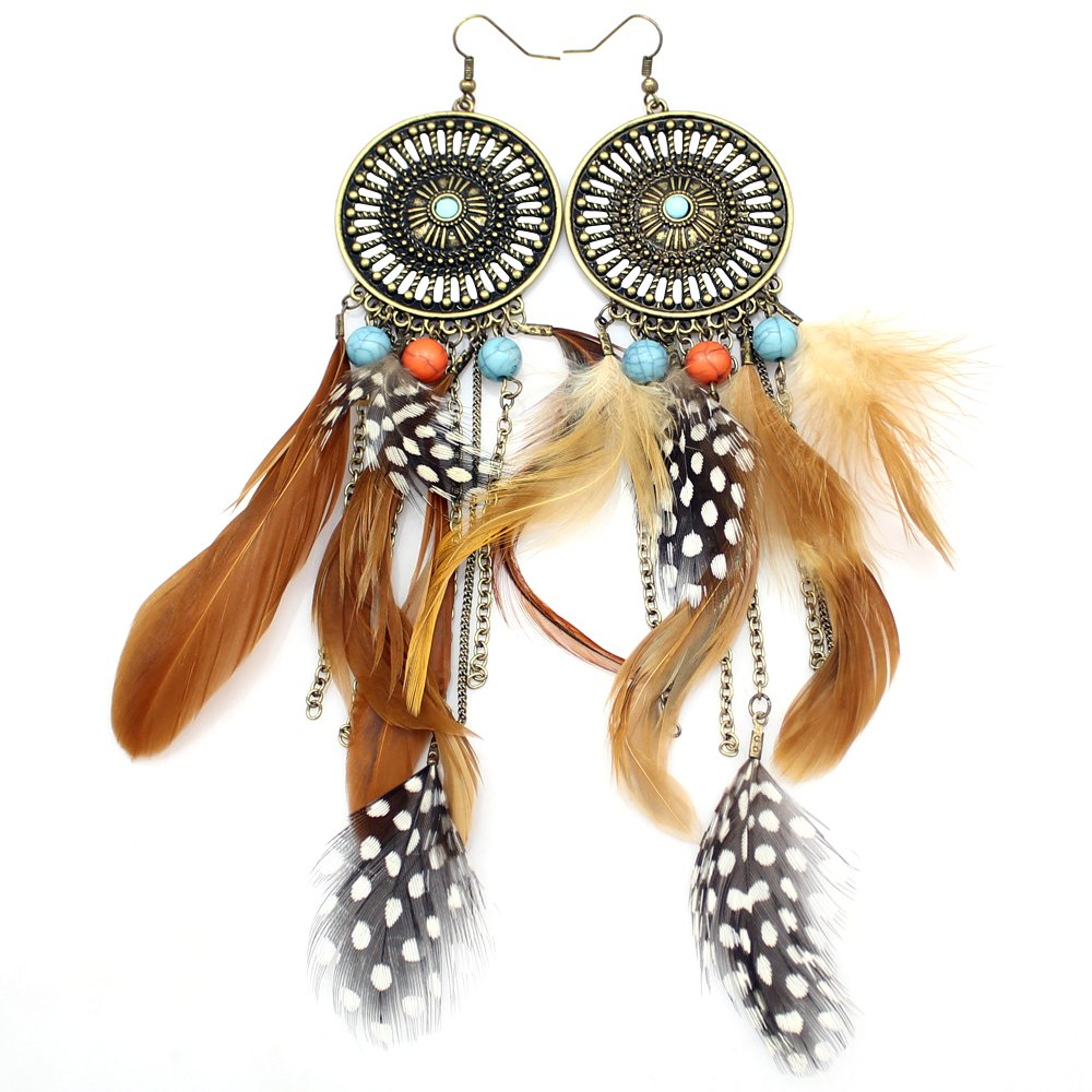 Gold Plated Q&Q Fashion Western Cowgirl Vintage Big Dream Catcher Feather Coral Turquoise Bead Navajo Zuni Style Earrings