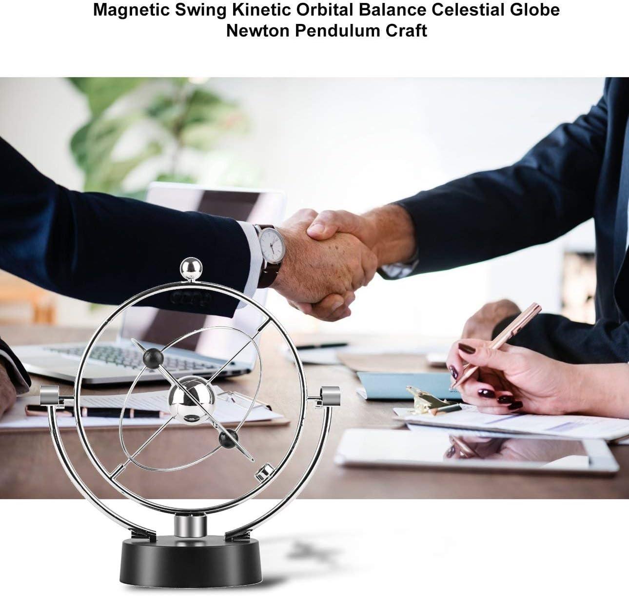 Ballylelly Altalena Magnetica Cinetica Orbitale Craft Scrivania Decorazione Equilibrio perpetuo Globo Celeste Newton Pendolo Ornamenti per la casa