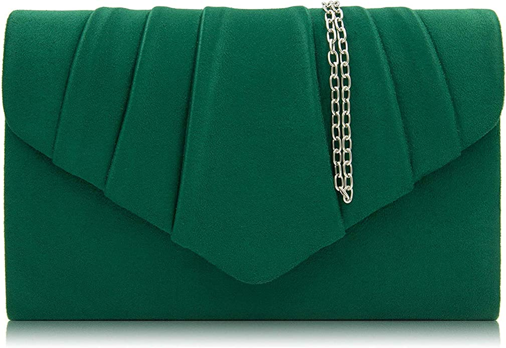 1930s Handbags and Purses Fashion Milisente Women Evening Bag Suede Pleated Clutch Purse Envelope Clutches $14.99 AT vintagedancer.com
