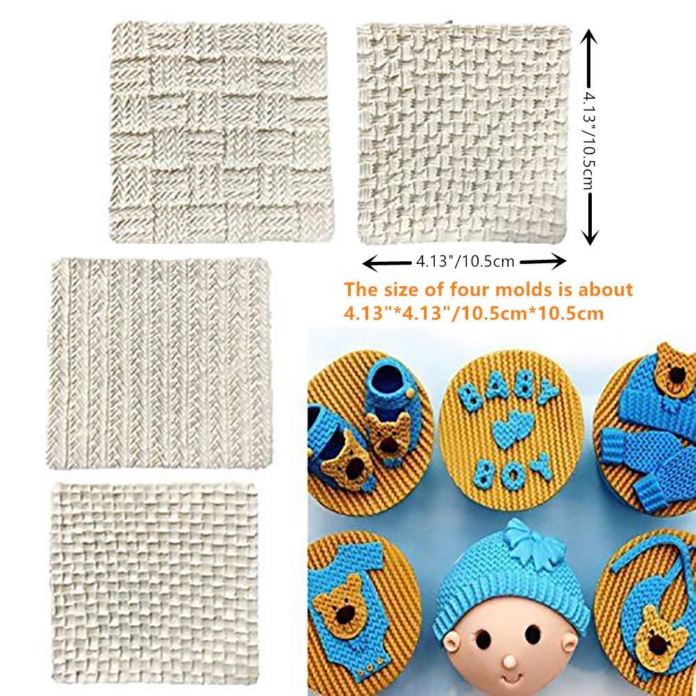 Wocuz Set of 4 Fondant Impression Mat Knitting Sweater & Crochet Texture Embossed Design Silicone Cake Cupcake Decorating Supplies molds by Wocuz (Image #1)