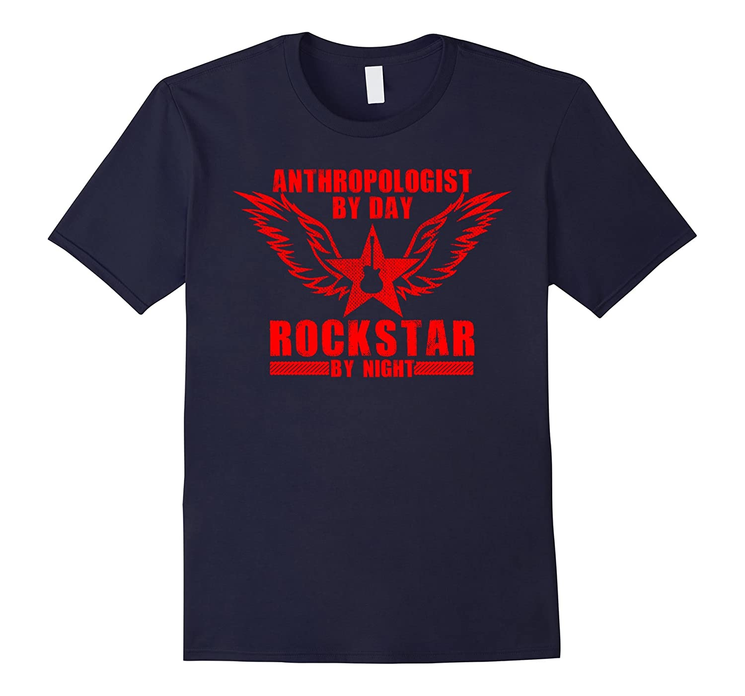 Anthropologist by Day  Rockstar by Night T-Shirt Red-TD