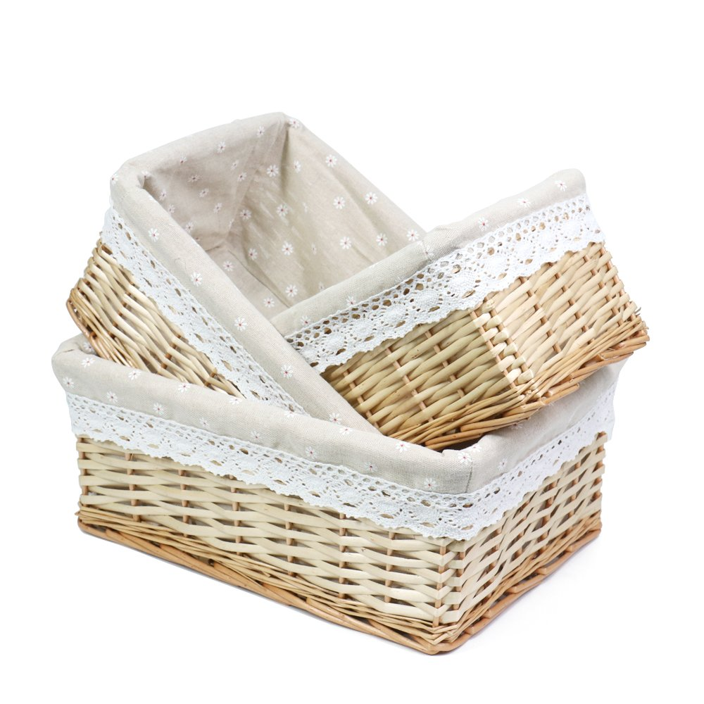 MEIEM Handmade Woven Wicker Storage Basket with Liner.Storage containers.Home Storage Bins for Toys Laundry Clothing Sundries Neatening (Set of 3,Natural)