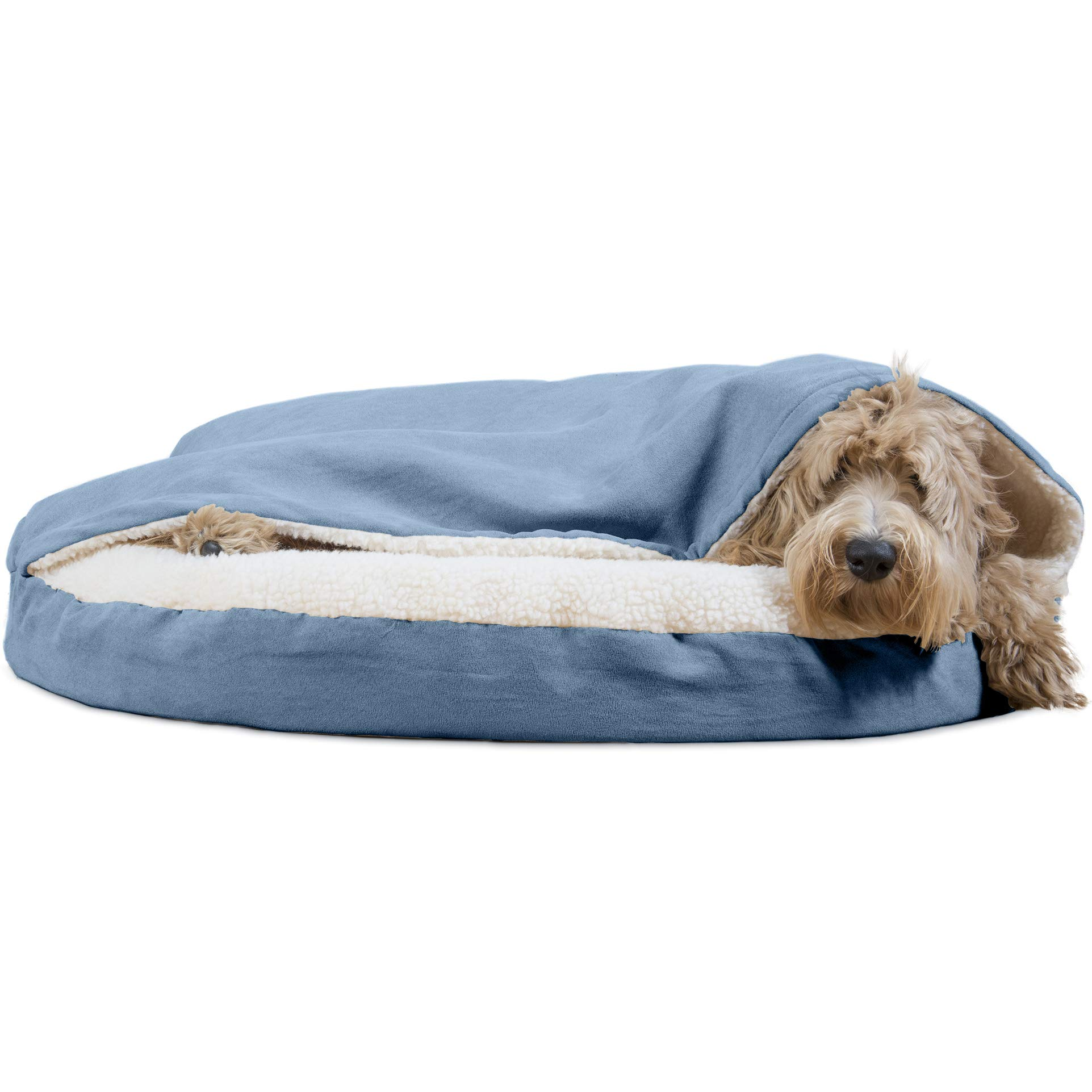 Furhaven Pet Dog Bed | Orthopedic Round Cuddle Nest Faux Sheepskin Snuggery Burrow Pet Bed for Dogs & Cats, Blue, 35-Inch