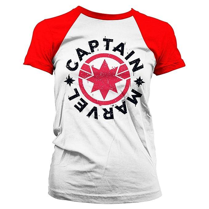 007eea98732 Officially Licensed Captain Marvel Round Shield Baseball Women T-Shirt ( White-Red)