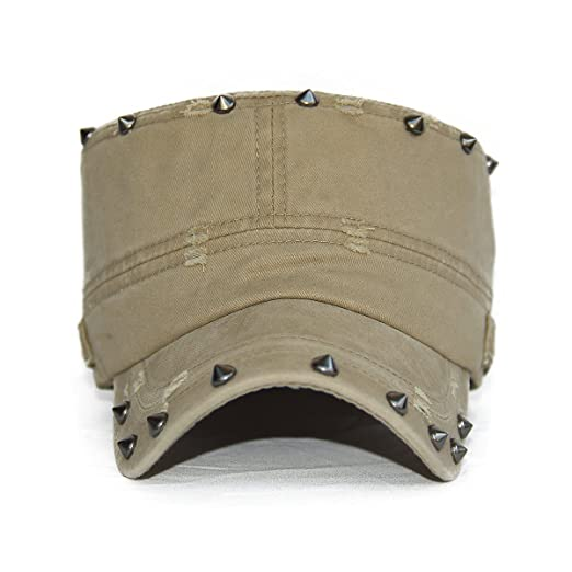 6d0b0da66 Rayna Fashion Unisex Adult Cadet Caps Military Hats Studs Rivets Low ...