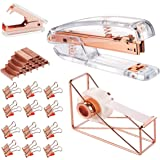 Rose Gold Office Supplies Set - Stapler, Tape Dispenser, Staple Remover with 1000 Staples and 12 Binder Clips, Luxury…
