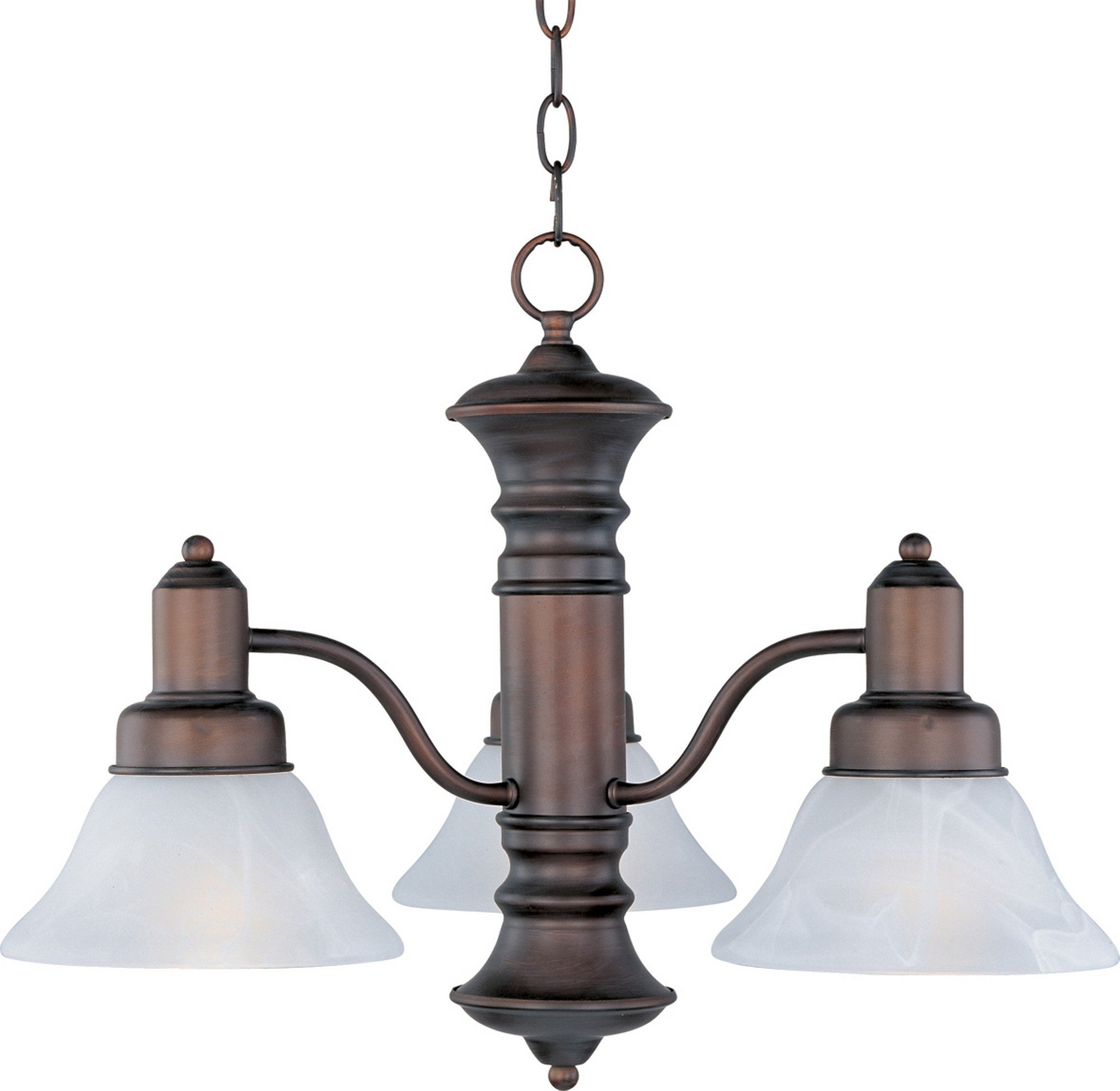 Maxim 20326MROI Newburg 3-Light Chandelier, Oil Rubbed Bronze Finish, Marble Glass, MB Incandescent Incandescent Bulb , 60W Max., Dry Safety Rating, Standard Dimmable, Metal Shade Material, Rated Lumens