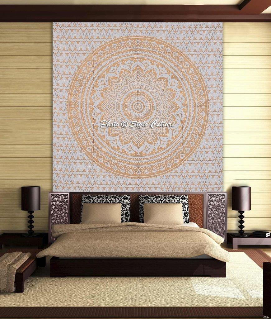 Stylo Culture Coltura Mandala Arazzo Cotone Oro Bianco Regina Stampato Floral Wall Hanging Decoration SC-TPST00201