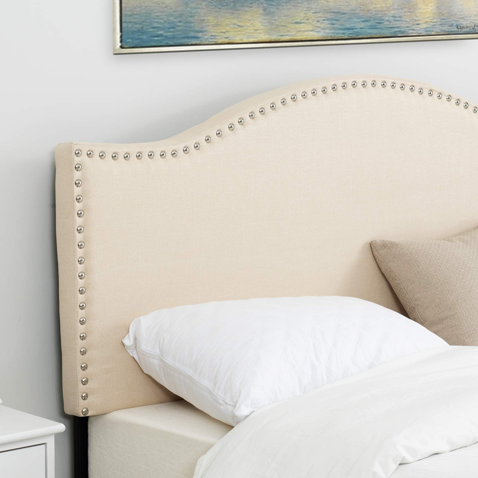 LAGRIMA Upholstered Linen Twin Size Headboard with Decorative Nailhead Trim and Curved Shape in Beige Fabric Adjustable Height