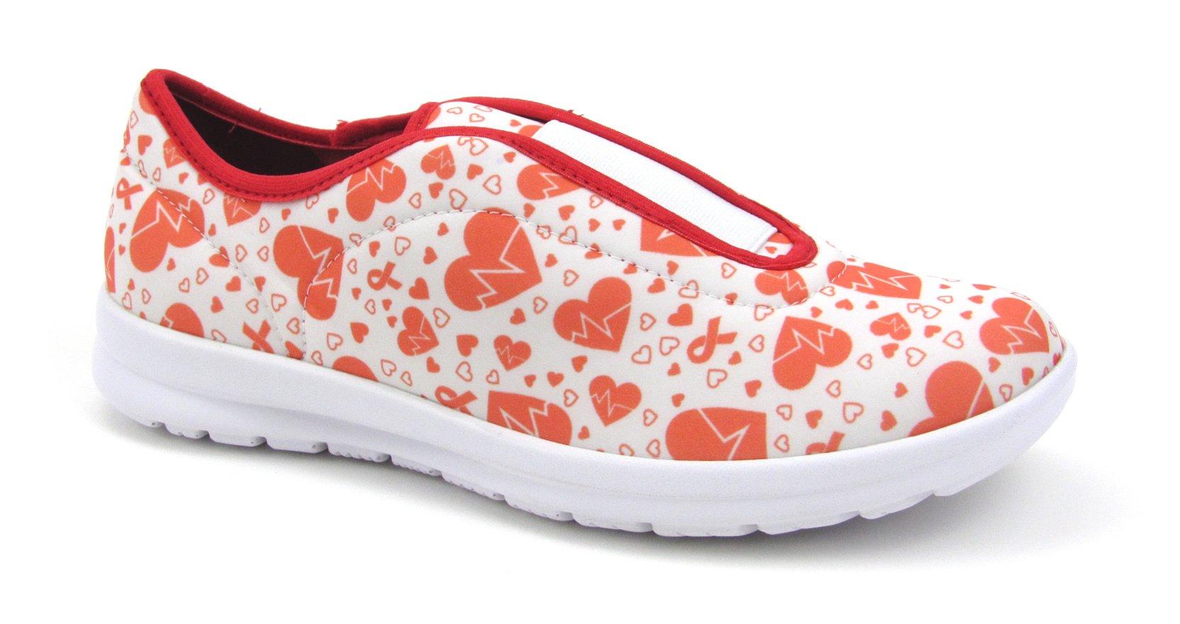 Move Women's Cute Memory Foam Elastic Gore Nursing Shoes - Printed - Florence (8, Electro Heart)