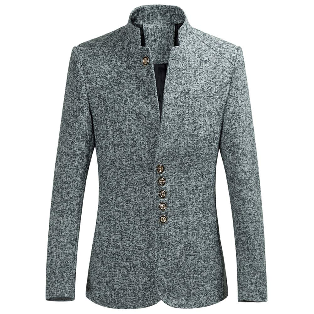 Mens Fashion Jacket Casual Blazer Stand Collar Autumn Winter Single Row Buckle Large Size Long Sleeve Suit Outerwear