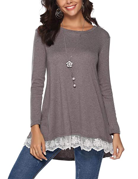 ed32980418d7e9 iClosam Women's V-Neck Lace Front Long Sleeve Tunic Top Blouse (Small, 2Grey