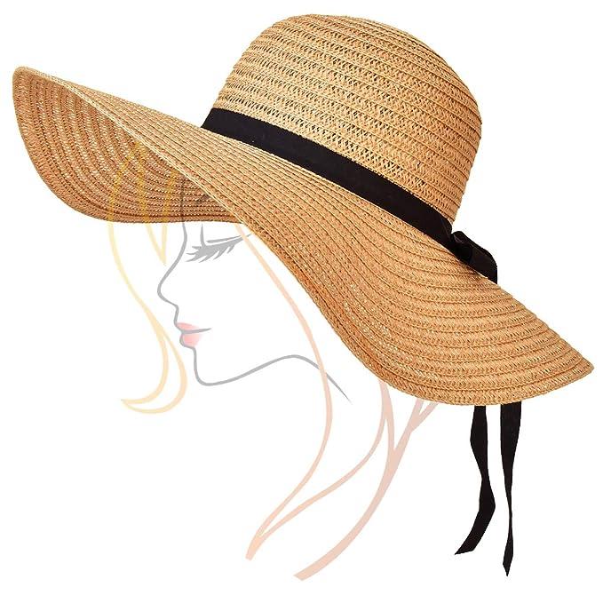 ee77aef6f SOMALER Womens Floopy Sun Hats Wide Brim Foldable Straw Beach Hat ...