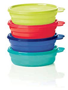 Tupperware Microwave Cereal Bowls 2018 Red, Green, Blue, Emberglow