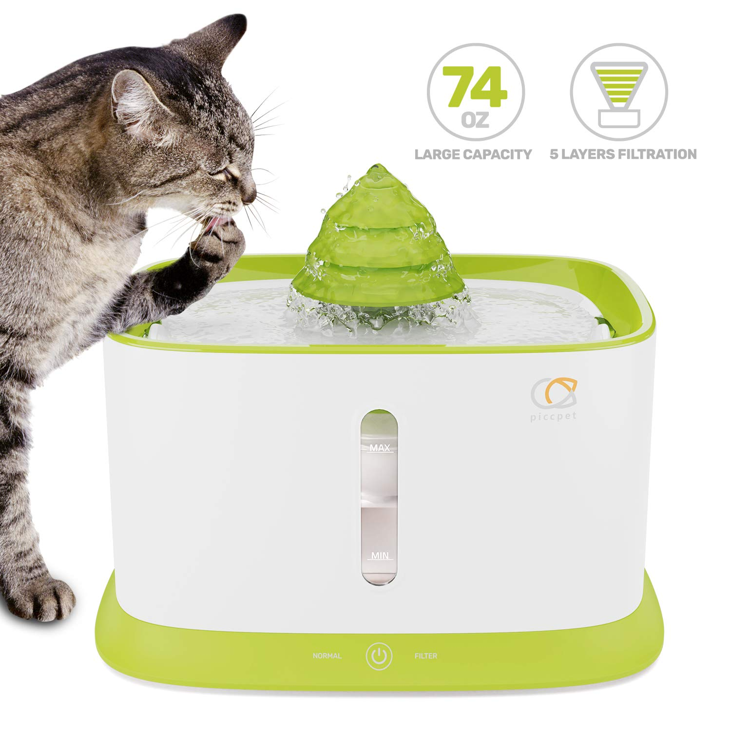 Piccpet Pet Fountain Cat Water Dispenser, 2.2L/74.4oz Healthy and Hygienic Drinking Automatic Water Fountain, Super Quiet Pets Auto Water Bowl with Filter, 2 Water Outlets for Cats, Dogs, Birds -Green by piccpet