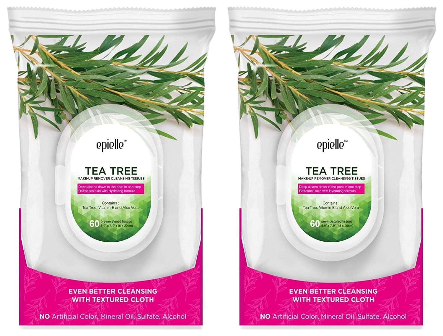 Epielle New Tea Tree Facial Cleansing Facial Tissues Wipes Towelettes - 60ct (Sheets) per pack, Twin Pack (Total 2 packs)