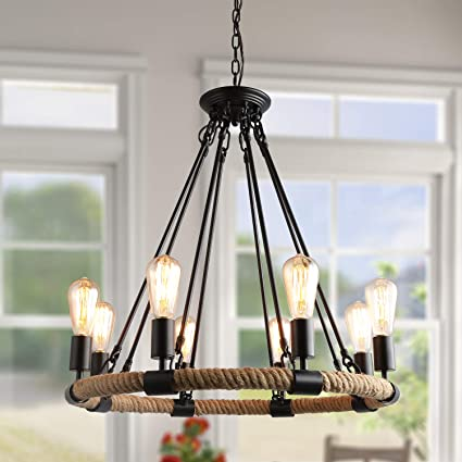 Lnc Farmhouse Chandelier For Dining Rooms Ceiling Light Fixture A0253203 Brown