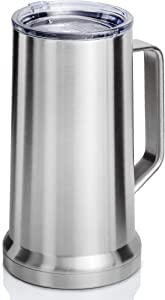 XPAC 22 Ounce Beer Mug with Lid and Handle, Stainless Steel, Vacuum Insulated Stein For Hot Or Cold Beverages