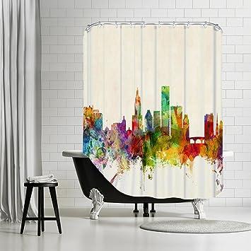 American Flat QuotProvidence Rhode Island Skylinequot Art Pause Shower Curtain By Michael Tompsett