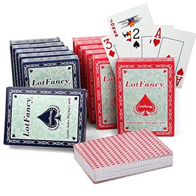 LotFancy Jumbo Index Playing Cards, 12 Decks of Cards (6 Blue 6 Red), Large Print, Poker Size, for Texas Hold'em, Blackjack, Pinochle, Euchre Cards Games: Sports & Outdoors