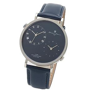[サルバトーレマーラ] クォーツ 薄型 腕時計 デュアルタイム 革ベルト ブランド メンズ アナログ 防水 クロス付 BL