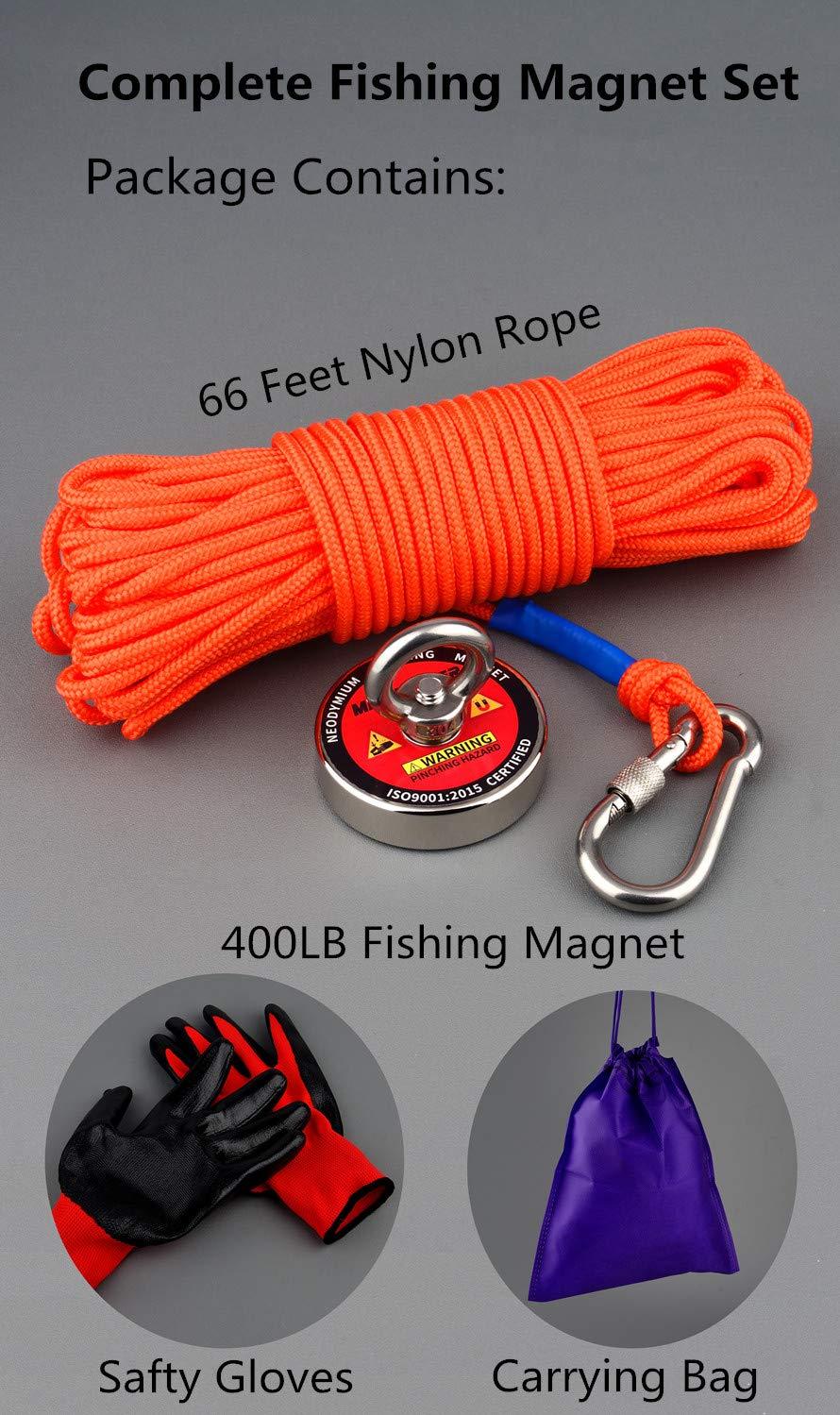 700 lbs starke Zugkraft Retrieval Magnet N52 Neodym-Magnete mit 20 m langem Seil leistungsstarke Magnete f/ür Angeln und magnetische Rettung im Wasser Mutuactor Angel-Magnete