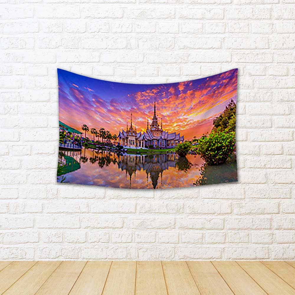 ArtzFolio Wat Thai Sunset In Temple Thailand Canvas Tapestry Wall Hanging 27 x 18inch by ArtzFolio
