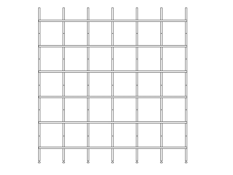 FMB Regalsystem MDF beschichtet, 6 x 33 cm (Breite 209.9 cm), 206 cm, schwarz