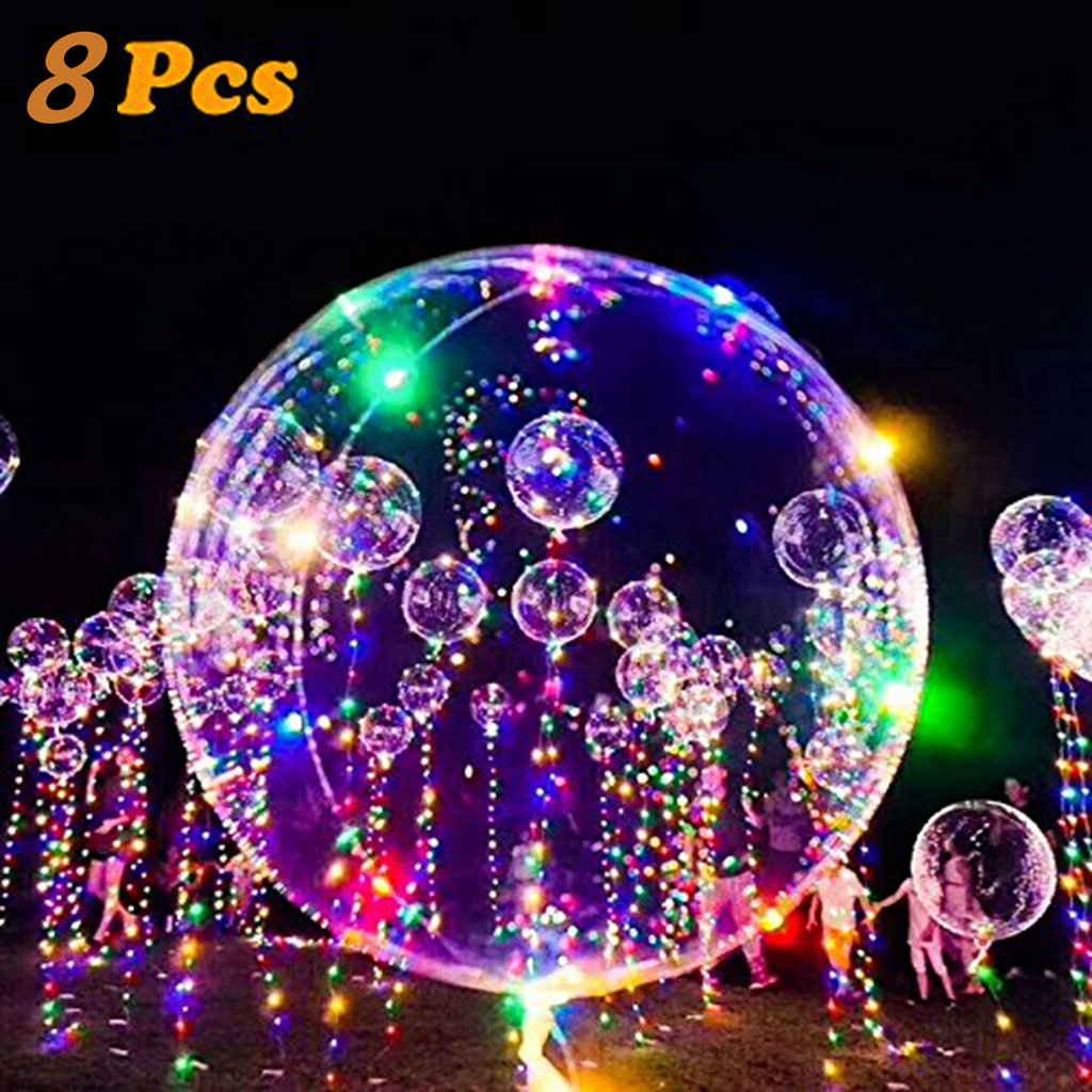 Bubble Balloon Flashing Colorful Light,18 inch 10 PCS Led BoBo Balloon Lights For Birthday Wedding Christmas Party Decorative ,Fillable with Helium -Lasts 72 hours (18inch-8pcs)