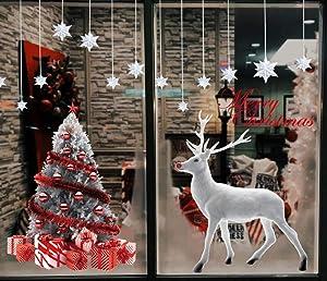 Heekpek Grande Árbol De Navidad Blanco Alces Pegatinas Navidad Ventana de Pared Feliz Navidad Pegatinas Decorativas Vinilos Navideños de Puerta Extraíble para Escaparate Decoracion Navideña Tiendas