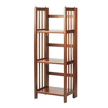 Casual Home 3-Shelf Folding Bookcase (14  Wide)-Mahagony