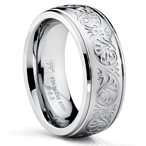 Ultimate Metals Anillo de Matrimonio de Acero Inoxidable Para Mujer, Banda Grabado Con Diseño Florentino