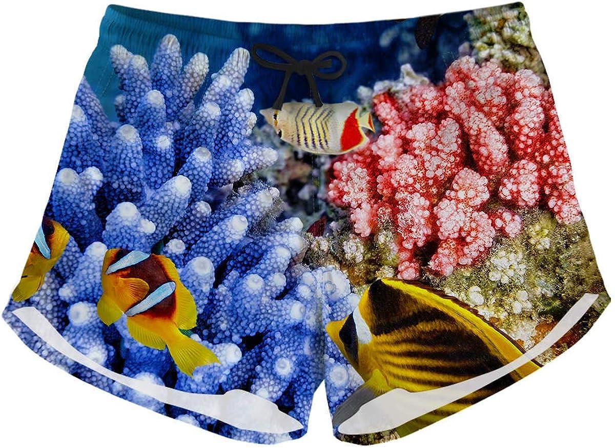 LedBack Womens Tie Sea Animals Dolphin Print Summer Beach Elastic Shorts