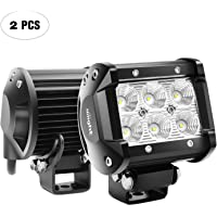 "Nilight Led Light Bar 2PCS 18w 4"" Flood Driving Fog Light Off Road Lights Boat Lights driving lights Led Work Light SUV Jeep Lamp,2 years Warranty"
