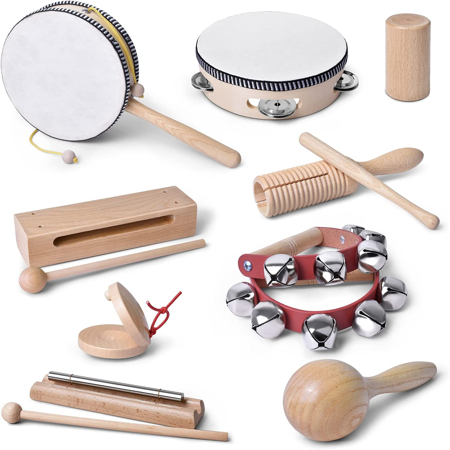 mixi Musical Instruments Toys for Toddlers, Wooden Percussion Instruments for Toddlers 1-3 with Storage Bag, Eco Friendly Drum Set for Kids and Toddlers: Toys & Games