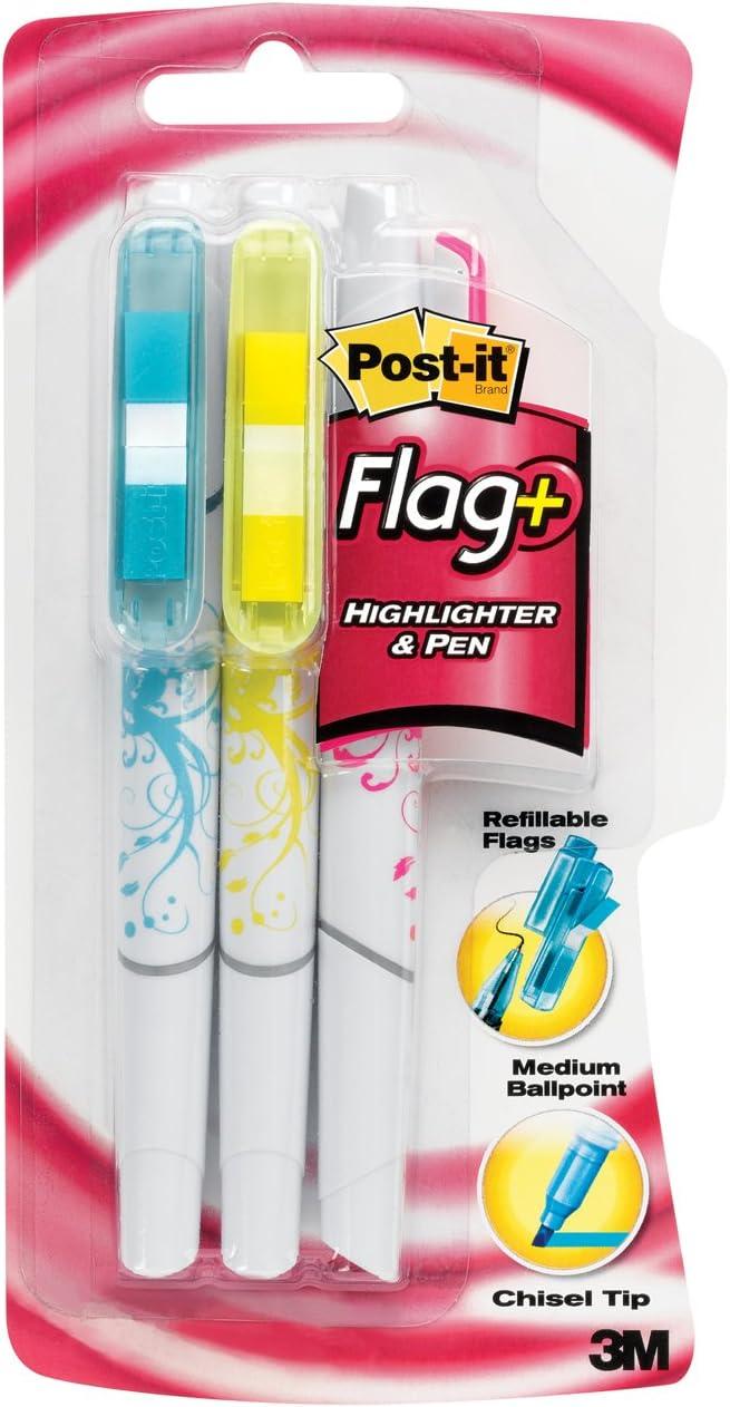 Post-it bandera + bolígrafo y rotulador, tinta negro con azul ...