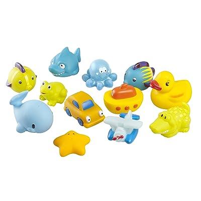 Babymoov A104921 - Juguetes para baño, chica, 12 piezas, color rosa y amarillo: Bebé