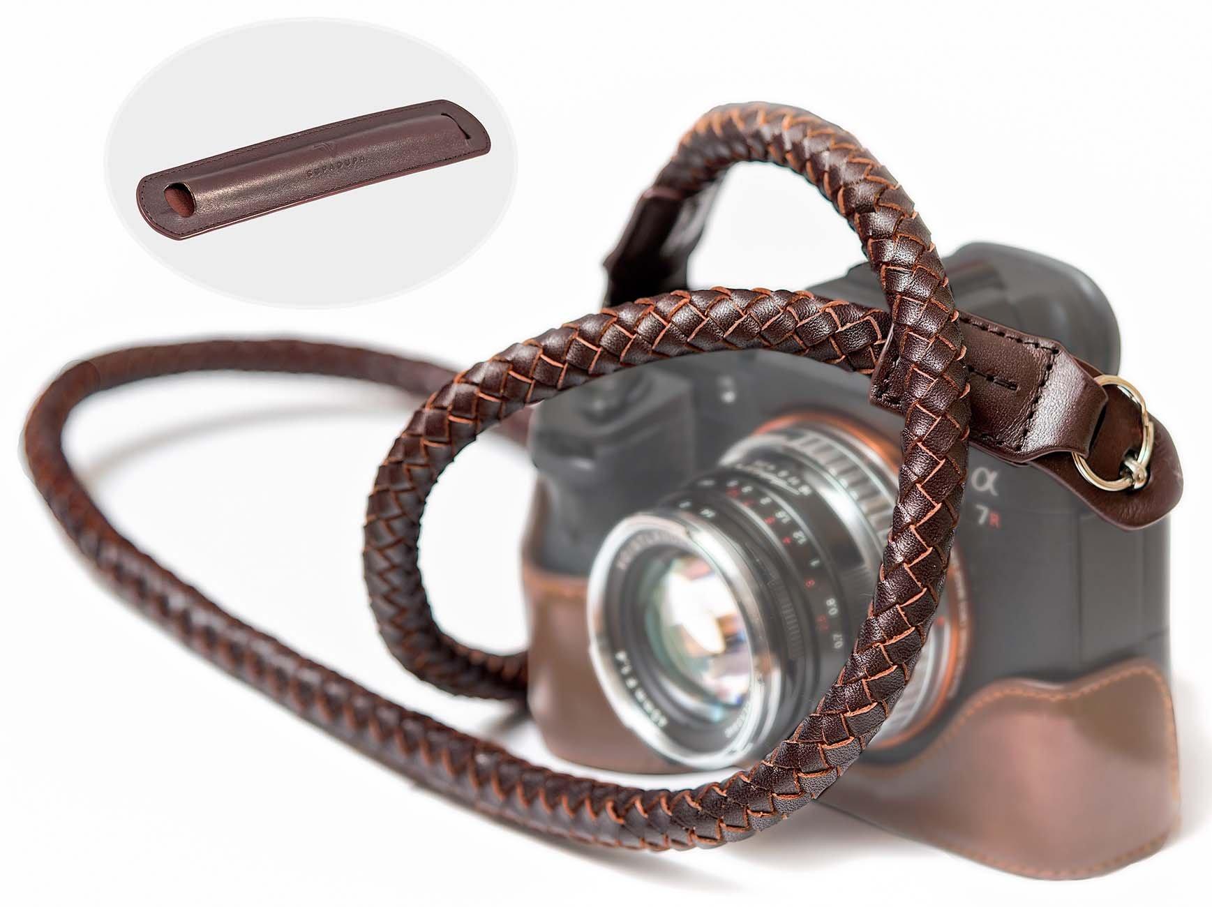 SupaDupa Leather Braided Camera Strap - Premium Quality - Men Women Neck Shoulder Sling Wrist For Sony Leica Fujifilm Canon Olympus Panasonic Nikon Pentax Binoculars Mirrorless + FREE Pad by SupaDupa Photo