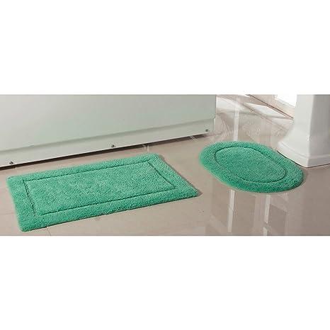 Amazon Com 2 Piece Green Luxury Cotton Bath Rug Mat Solid Color