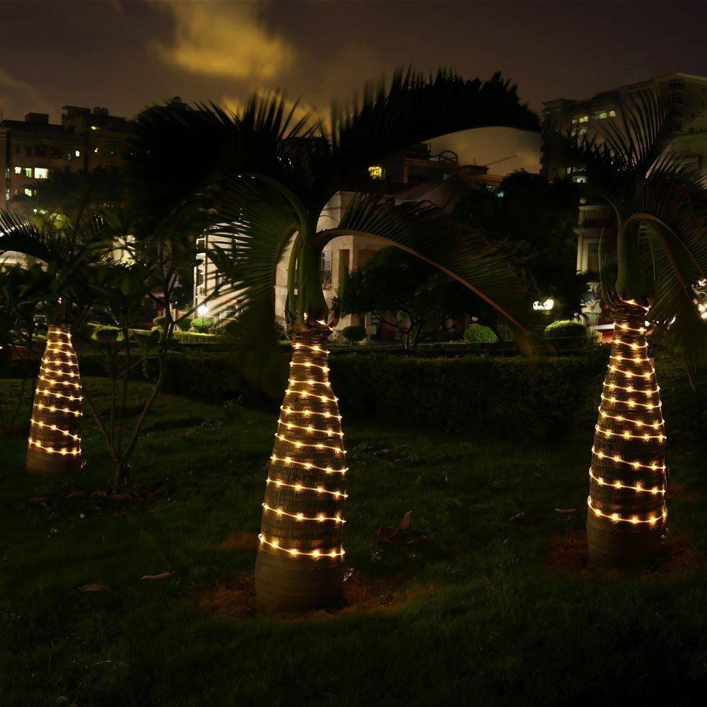 ad58cfacc27 LE Cadena de luces de cuerda Exteriores 10m 120 LED 8 modos Resistente al  agua Blanco ...