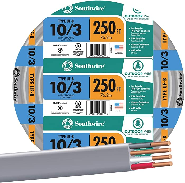 SOUTHWIRE COMPANY #13059155 250' 10/3 W/G UF Cable