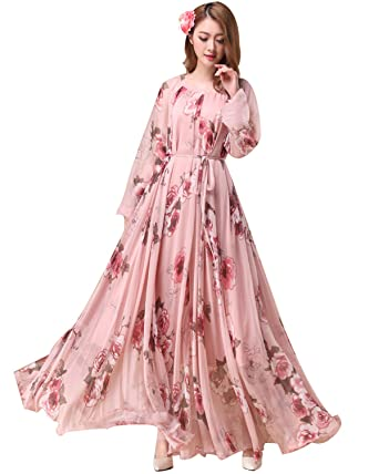 1ee07a1f6a0 Medeshe Women s Pink Long Sleeve Chiffon Beach Maxi Dress Bridesmaid  Sundress  Amazon.co.uk  Clothing