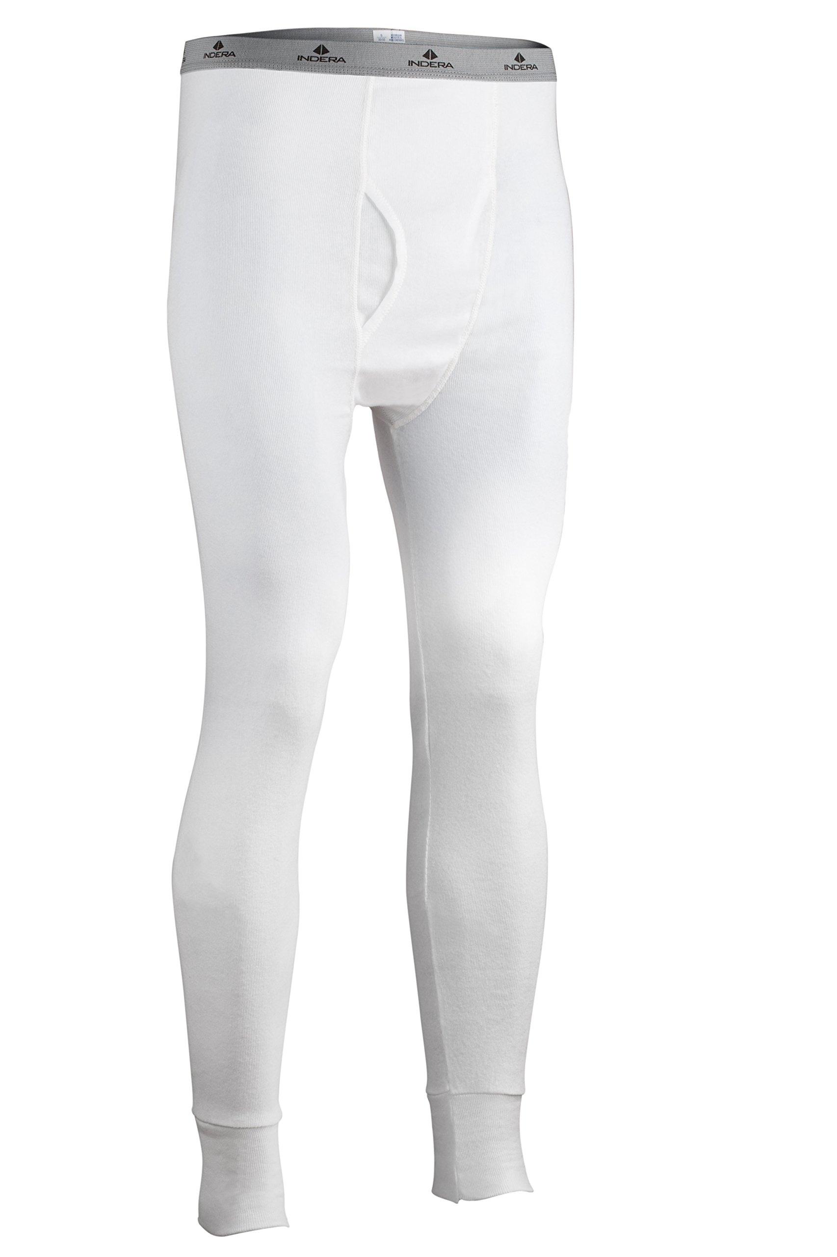 Indera Men's Cotton Rib Knit Thermal Underwear Pant, White, Large