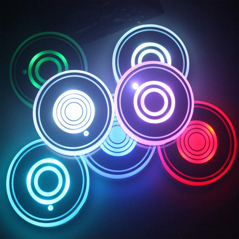 Led Cup Holder Light 2er Set Led Untersetzer Mit 7 Farben Luminescent Cup Pad Usb Ladetassenmatte Für Untersetzerzubehör Innendekoration Atmosphärenlicht Auto