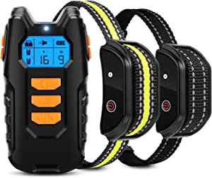 Flittor Dog Training Collar, Shock Collar for Dogs with Remote, 2 Receiver Rechargeable Dog Shock Collar, 3 Modes Beep Vibration and Shock Waterproof Bark Collar for Small, Medium, Large Dogs
