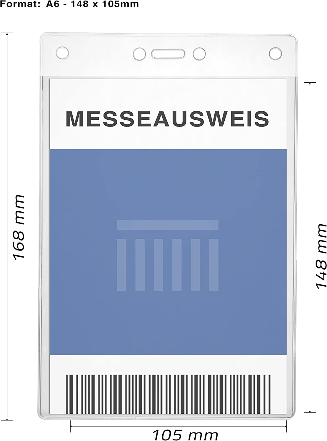 Holds A6 Card size 105 x 148mm CKB Ltd 20x A6 VERTICAL Extra Large Portrait Clear ID Badge Card Holders Carte ID Support De Badge Card Plastique 17.5cm x 11.8cm