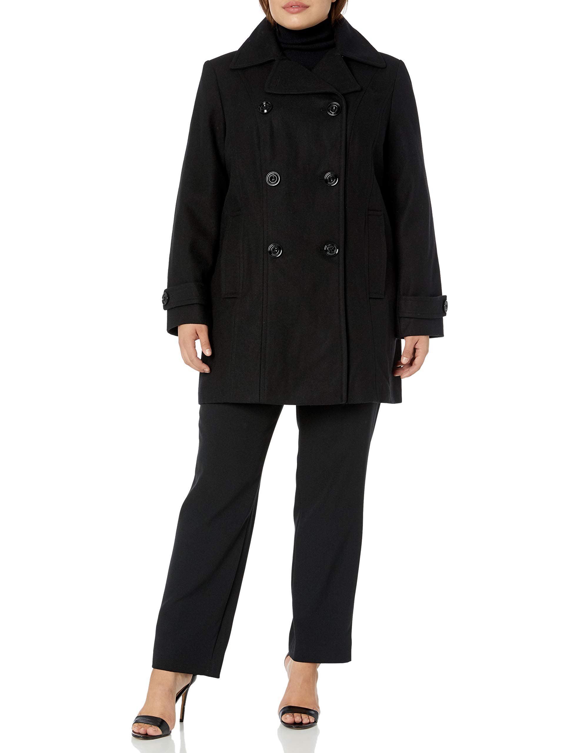 Anne Klein Women's Plus Size Classic Double Breasted Coat, Black, 1X by Anne Klein